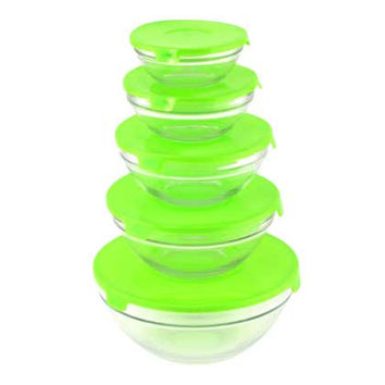 Glass Bowls With Lids - Green