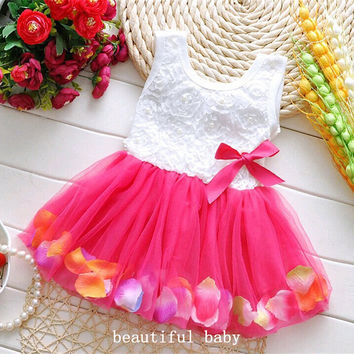2017 Summer Dress Cotton Kids Clothes Baby Infant Petals Hem Tutu Dress Chiffon Newborn Baby Girls Dress Floral Princess Dresses