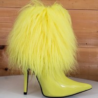 """CR Gazelle Yellow Patent Furry Ankle Boot Pointy Toe  4.5"""" High Heel  6 - 11"""
