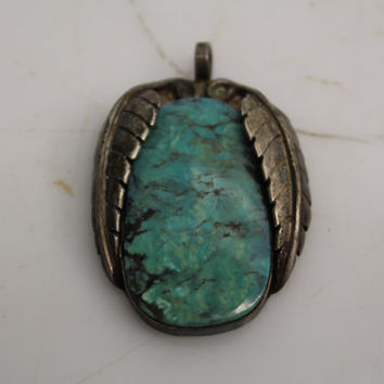 Vintage Old Pawn Native Large Rough Cut Turqouise Stone Set In 925 Sterling Silver Pendant Framed by Feathers