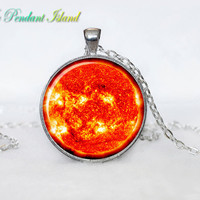 SUN Pendant  SUN Necklace Galaxy necklace Space pendant sun orange Jewelry Necklace for him  Art Gifts for Her(P11H03V04)