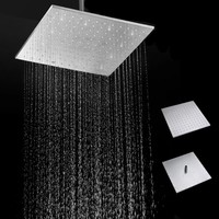 16inch Square Stainless Steel Rain Shower Head Bathroom Top Sprayer Bathroom Set