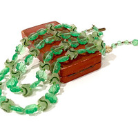 Green Plastic Flower Bead Necklace  Double Strand  Shades Of Green  Frosted Ruffled Beads  Adjustable  Made In West Germany  Vintage 1950's