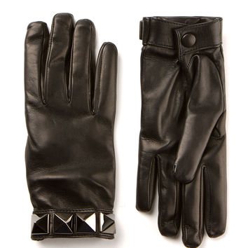 VALENTINO BLACK LEATHER GLOVES WITH FOUR GUNMETAL TONE STUDS