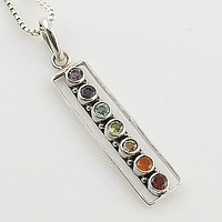 Multi Stone Chakra Rectangle Sterling Silver Pendant
