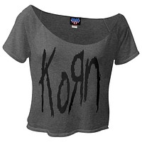 Korn - Logo Raw Edge Crop Top Juniors T-Shirt