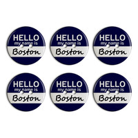 Boston Hello My Name Is Plastic Resin Button Set of 6