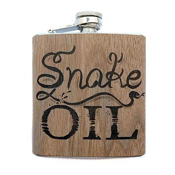 Snake Oil Wood Wrapped Flask