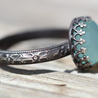 chalcedony ring sterling silver hippie  hippy chick 10mm handcrafted any size wiccan pagan magical talisman ring