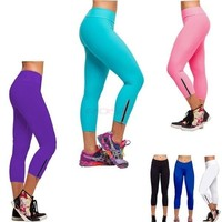 Women Tights Capri Running Pants High Waist Cropped Leggings Fitness SV001959 Trousers = 5660408513