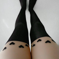 Transparent Nude Vintage Tattoo Hearts Love Over the Knee Opaque 120D Black Pantyhose Stockings Tights Leggings (PHS-096)