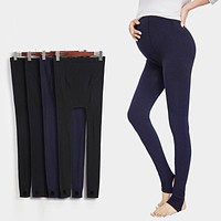 pregnant women spring autumn warm pants lady seamless thin cotton leggings for maternity large pants trousers