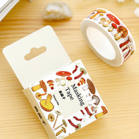 JF312 1.5CM Wide Various Mushroom Collections Washi Tape DIY Scrapbooking Sticker Label Masking Tape School Office Supply