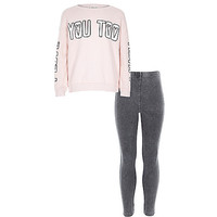 River Island Girls pink heart you top and leggings outfit