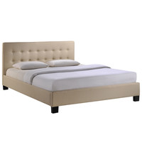 Caitlin Queen Fabric Bed Frame in Beige