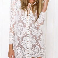 White Lace Up Front Long Sleeve Sheer Lace Bodycon Dress