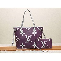 Louis Vuitton LV Women Shopping Leather Tote Handbag Shoulder Bag Purse Wallet Set Two-Piece Purple