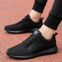 Lightweight 39-47 Big Size Men Sneaker Black Antislip Bottom Comfortable Flats Summer 2018 Mesh Breathable Tennis Running Shoes