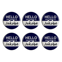 Jakobe Hello My Name Is Plastic Resin Button Set of 6