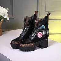 lv louis vuitton trending womens black leather side zip lace up ankle boots shoes high boots 323