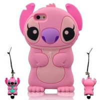 I Need's 3d Cute Movable Ear Flip Stitch & Lilo Silicone Cover Case for Iphone 5 with 3d Stitch & Lilo Stylus Pen - Pink