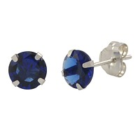 Blue Sapphire Cubic Zirconia Stud Earrings 14k White Gold Round Birthstone CZ