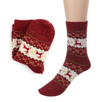 Hot Sale Christmas Deer Design Casual Knit Wool Socks Warm Winter Mens Women Lowest Price Free Shipping