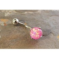Pink Fire Opal Belly Button Jewelry Ring Synthetic Opal