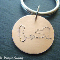 Long distance state Keychain state to state keychain personalized