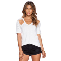 Front and Back Cut-out Short Sleeve T-shirt