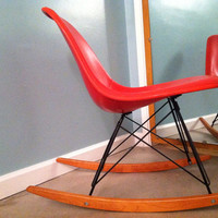 Eames Herman Miller Fiberglass Rocker Mid Century Modern Rocking Chair Tomato Red Stamped With Tags