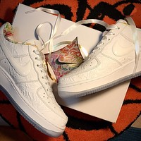 Nike Air Force 1 low-top all-white embossed art casual sneakers Shoes