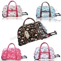 LYDC Faux Leather Cupcake Print Travel Suitcase Holdall Luggage Weekend Bag
