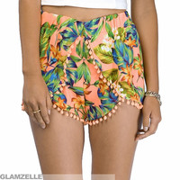 """""""In the Tropics"""" Flowers Pom Pom Shorts (2 colors available)"""