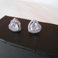925 Silver Sparkling White Heart Crystal Studs Earrings. Bridal Crystals Studs 925 Silver Earrings