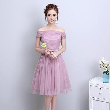 ZX-F4D#The new spring summer 2017 v-neck short bride wedding bridesmaid dresses Many colors in champagne pink gray cameo brown
