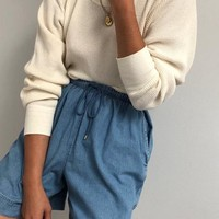 Vintage Cream Waffled Thermal / Vintage Denim Easy Shorts