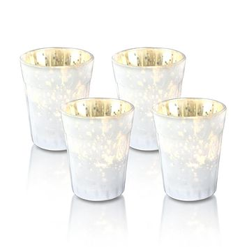4 Pack | Vintage Mercury Glass Candle Holders (3.25-Inch, Katelyn Design, Column Motif, Pearl White) - For Use with Tea Lights - For Home Decor, Parties and Wedding Decorations