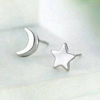 Asymmetrical Star/Moon Earrings - Small Stud Earrings- Silver Stud Earrings - Tiny Earrings - Star Earring - Moon Earring - Celestial Ear