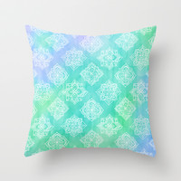 Soft Doodle Pattern in White, Purple, Mint & Aqua Throw Pillow by micklyn