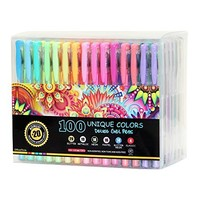 Amazing Gel Pens for Adult Coloring Books by Amerigo - Set of 48 Assorted Colors Includes Glitter, Metallic, Pastel, Neon Gel Pens (Black included) - Express Yourself + GRIP for Your COMFORT!