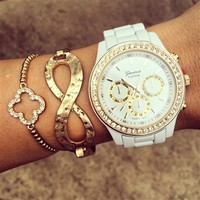 White Bling Watch