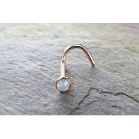 White Opalite Opal Rose Gold Corkscrew Nose Ring Nose Piercing