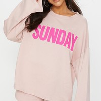 Pastel Pink Sunday Slogan Off Shoulder Sweater