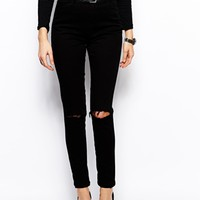 ASOS Skinny Twill Pants with Ripped Knee - Black