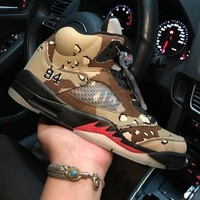 Air Jordan 5 Retro Camo 824371-201 V White Men's Height Increasing Shoes Fashion Shoes Top Quality With Original Box US7-13