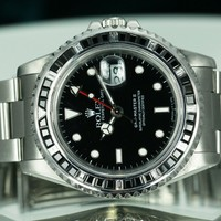 Rolex Men's GMT Master II 16710 Steel Black and White Diamond Bezel