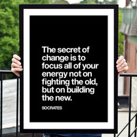 "Gift Ideas for Her Motivational Poster ""The Secret of Change"" Socrates Typography Poster Birthday Gift Graduation Gift Xmas Gift Art Print"