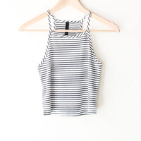 Striped Knit Cami Crop Top - Black