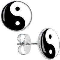 Black White Yin Yang Stud Earrings | Body Candy Body Jewelry